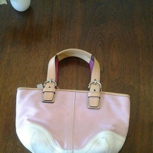 Coach Bags - Coach Pink & White Small Tote
